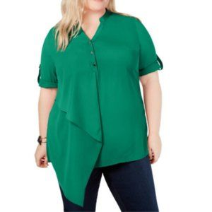 Tops - NY Collection Womens Plus Asymmetrical V-Neck Blou